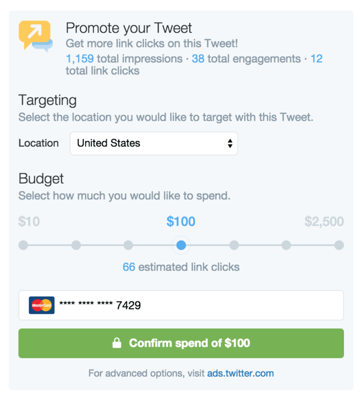 Promoted tweet options