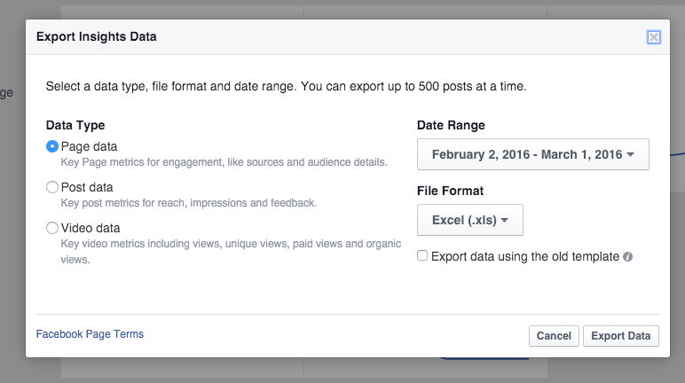Facebook Analytics Export