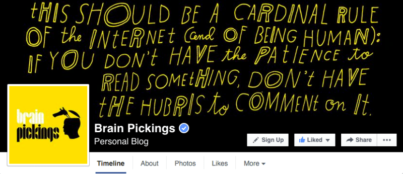 Facebook, Facebook pages, Brain Pickings