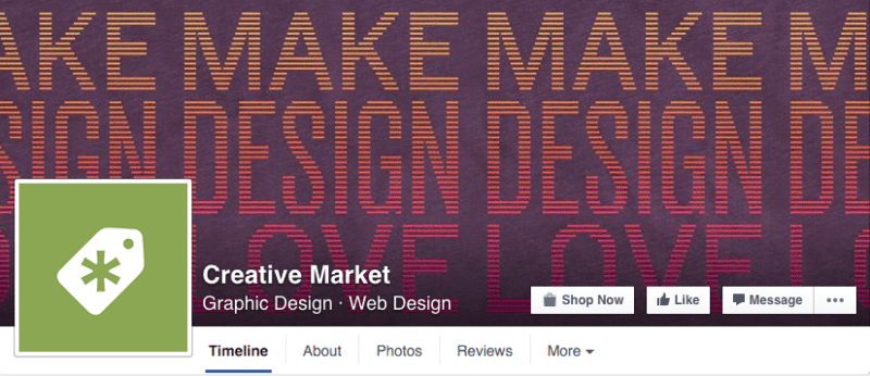 Facebook, Facebook pages, Creative Market