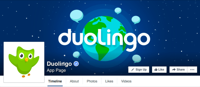 Facebook, Facebook pages, Duolingo