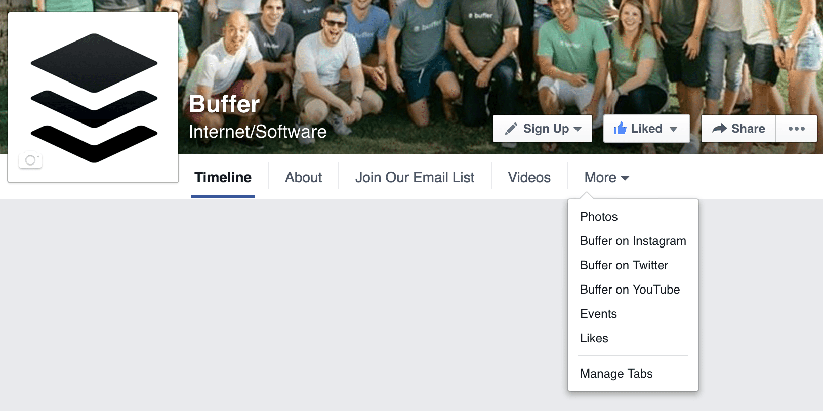Facebook page menu options