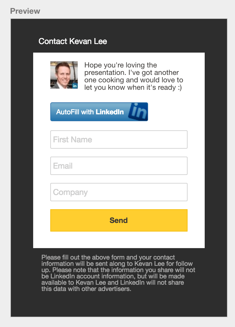 LinkedIn collect leads form