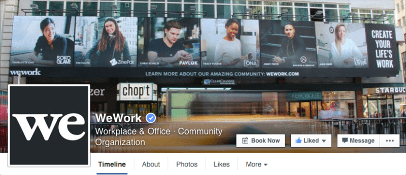 Facebook, Facebook pages, WeWork