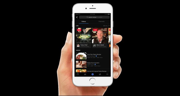 Facebook, Video Hub, Video Search, Facebook Live, Facebook Video