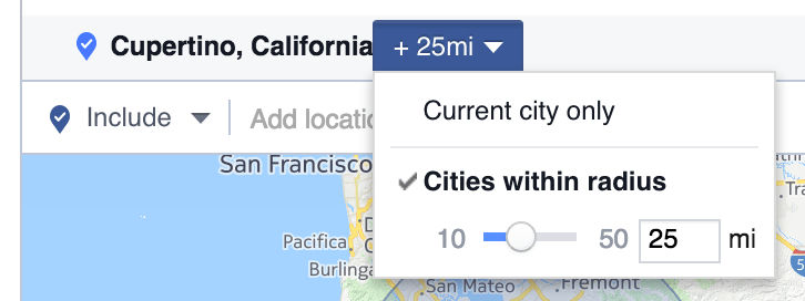 Facebook ads mile radius