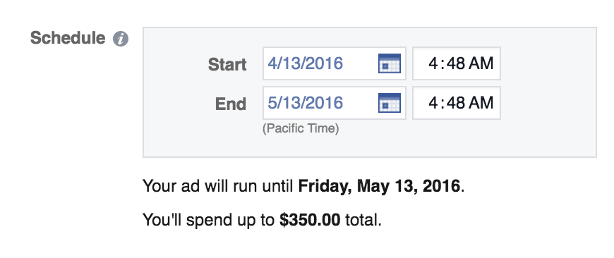 Facebook ads set a schedule