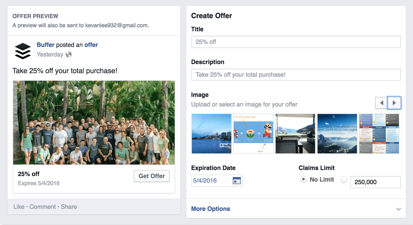 create offer facebook settings