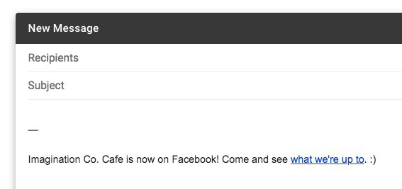 Share Facebook Page in email signature