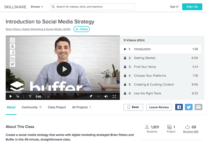 Buffer Skillshare Class - Social Media Marketing Strategy