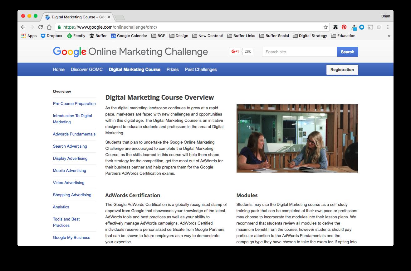 Google Online Marketing Challenge, Google Digital Marketing Course