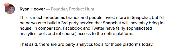 product-hunt-comment-on-snaplytics