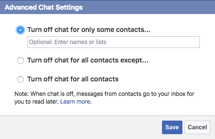 Advanced chat settings