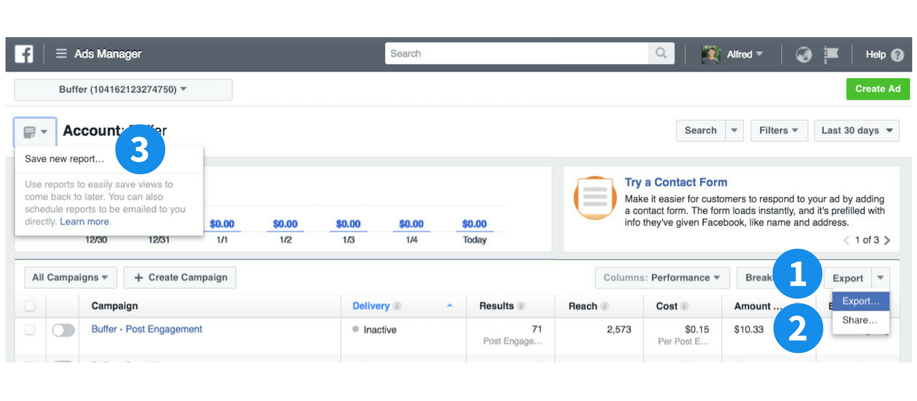 Facebook ads manager export, share, and save