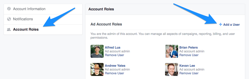 Facebook Ads Manager - Add a User