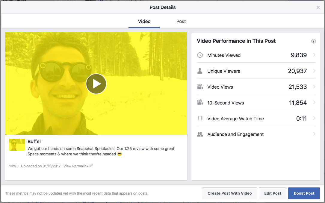 Facebook video metrics example