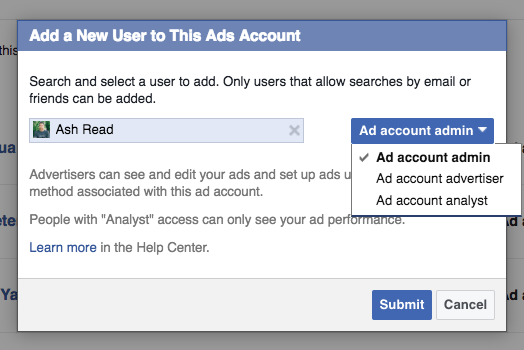Select type of ad account permissions