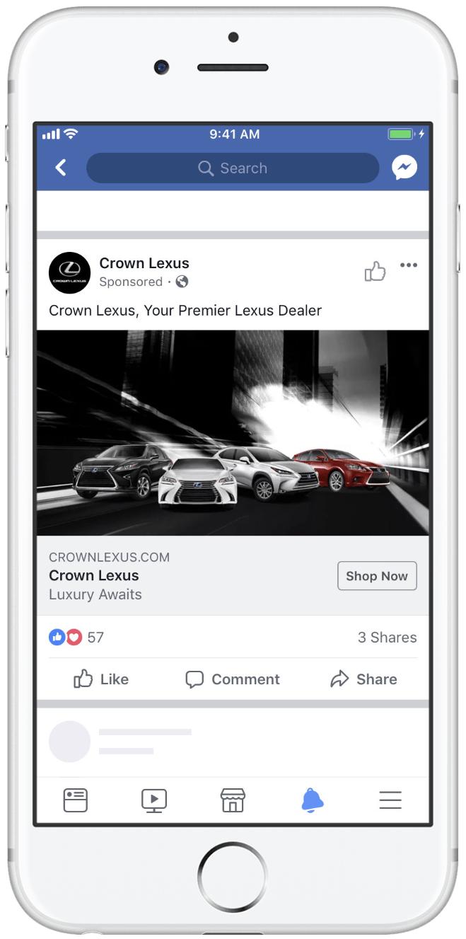 Facebook single image ad example
