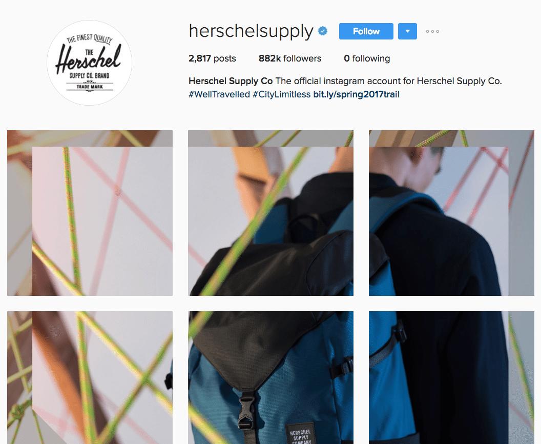 Herschel Instagram profile