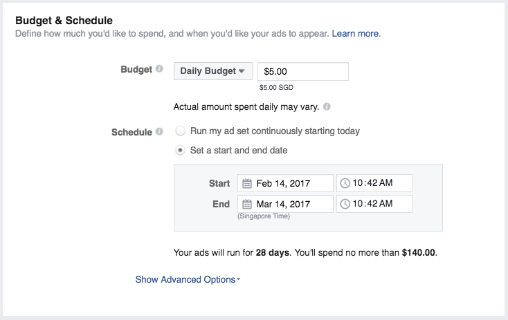 Facebook ads manager budget and schedule settings