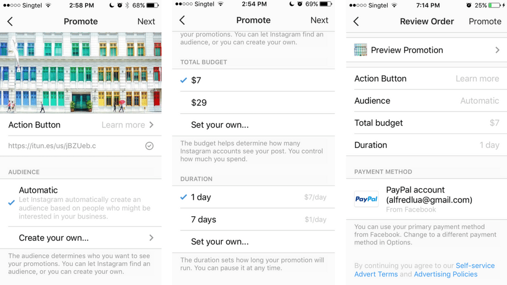 Instagram ads from Instagram app - Audience, budget, duration