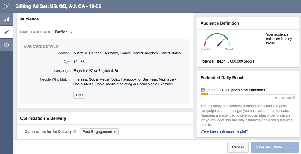 Facebook Ads Audience Square Video vs. Landscape Video Targeting