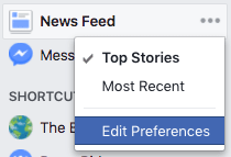 Edit News Feed Preferences