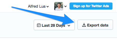 Export Twitter data