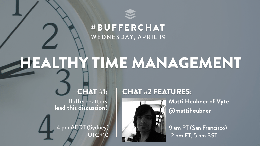 Bufferchat on April 19, 2017 (Topic = Healthy Time Management)