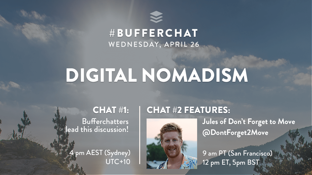 Bufferchat on April 26, 2017 (Topic = Digital Nomadism)