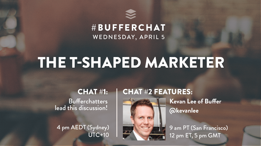 Bufferchat on April 5, 2017 (Topic = The T-Shaped Marketer)