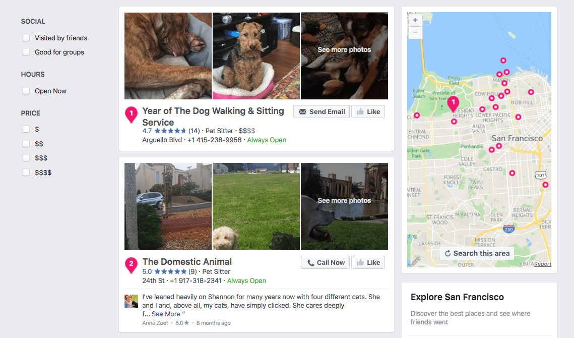 Facebook Page search results