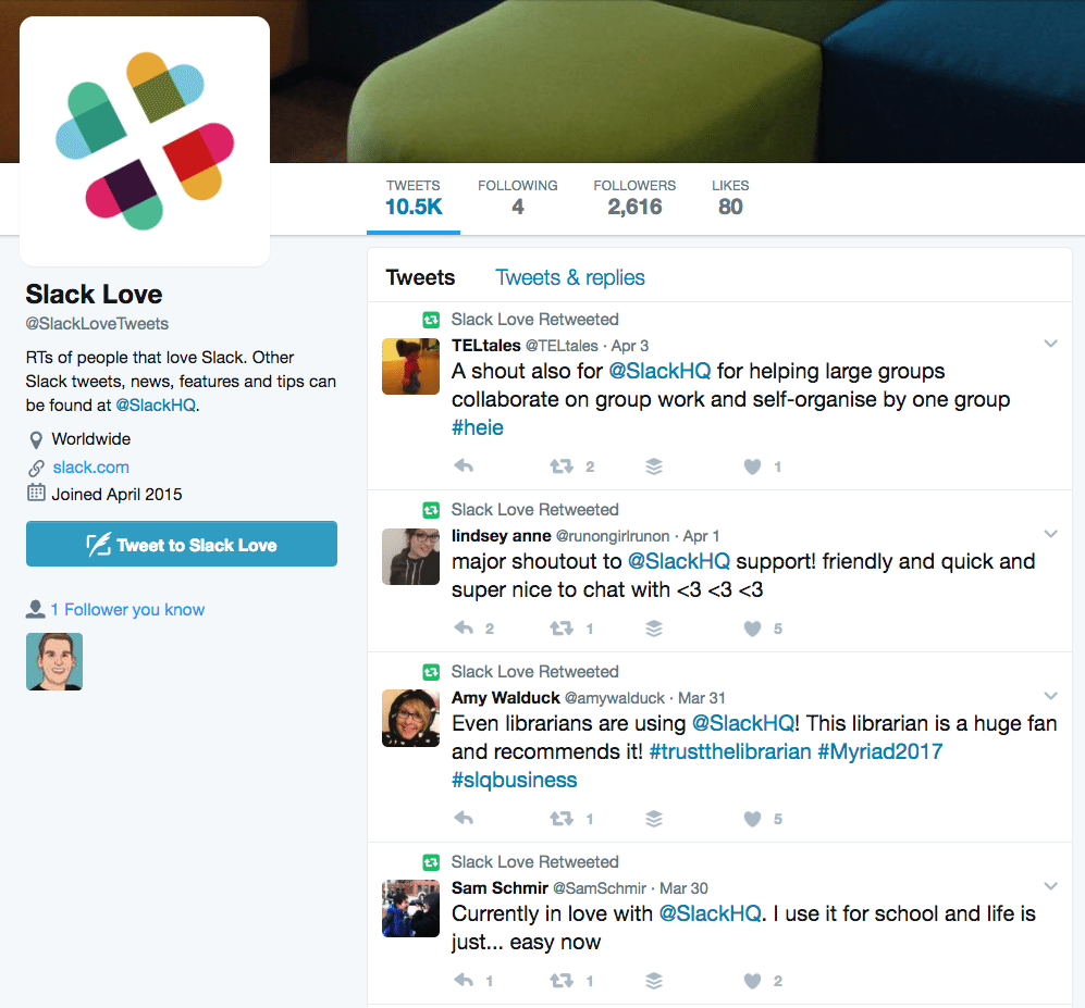 Slack love Twitter retweets