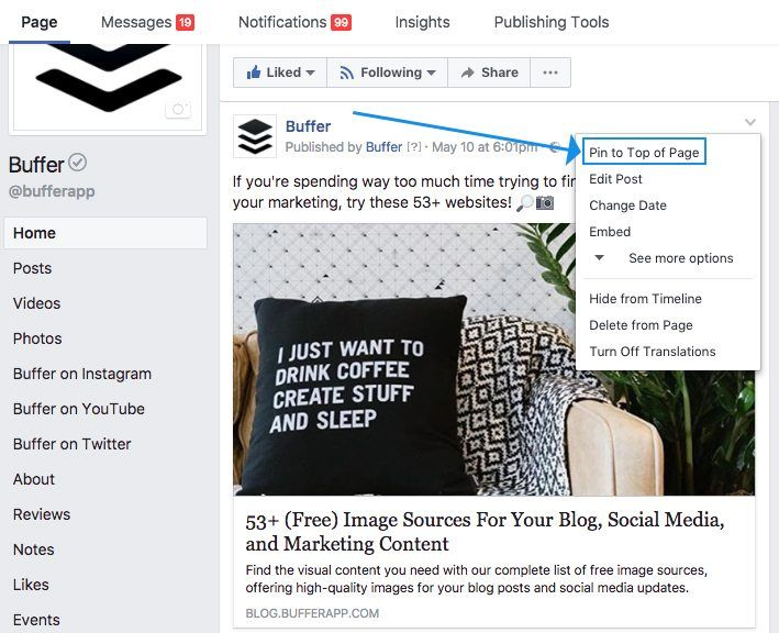 Pin Facebook Post to Top of Page