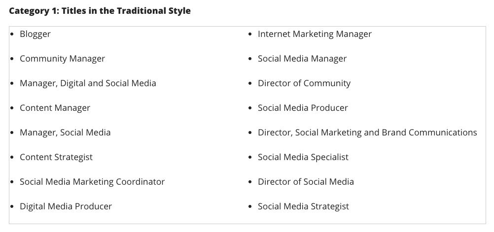 Social Media Job Titles