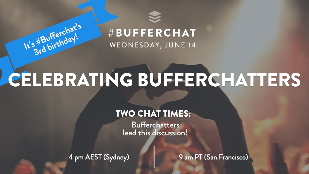 Bufferchat on June 14, 2017 (Topic = Celebrating Bufferchatters)