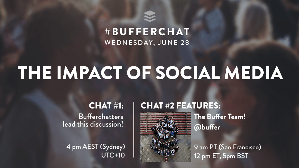 Bufferchat on June 28, 2017 (Topic = The Impact of Social Media)