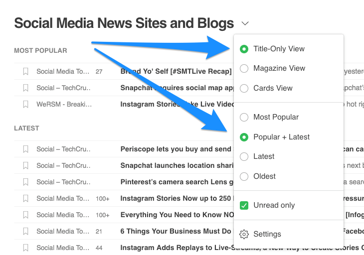 Feedly settings: Set to Title-Only View and Popular + Latest
