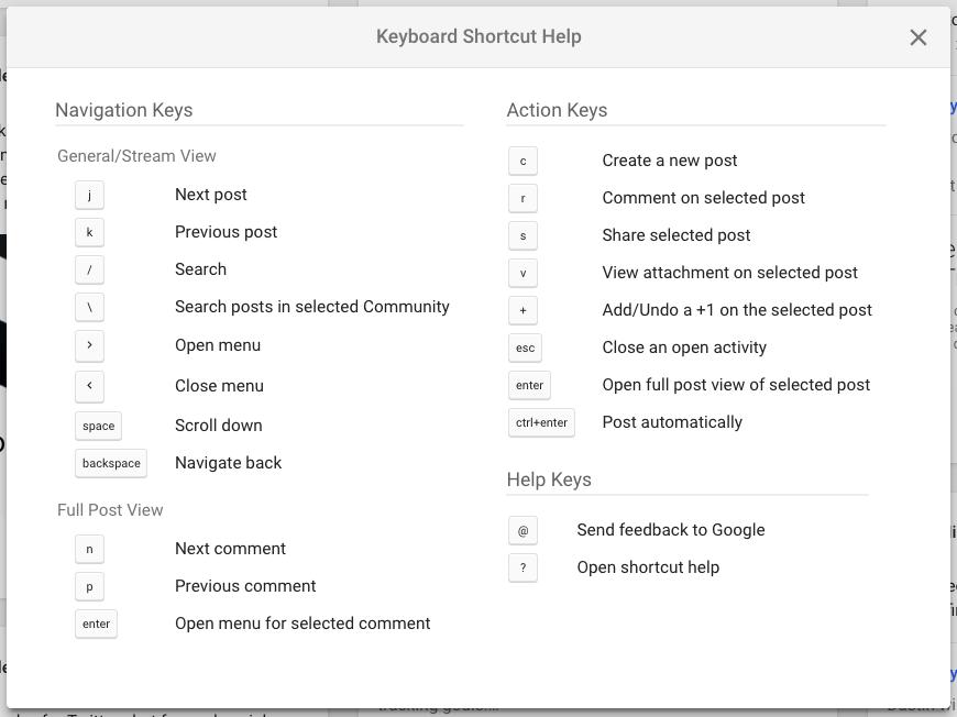 Google+ Keyboard Shortcuts