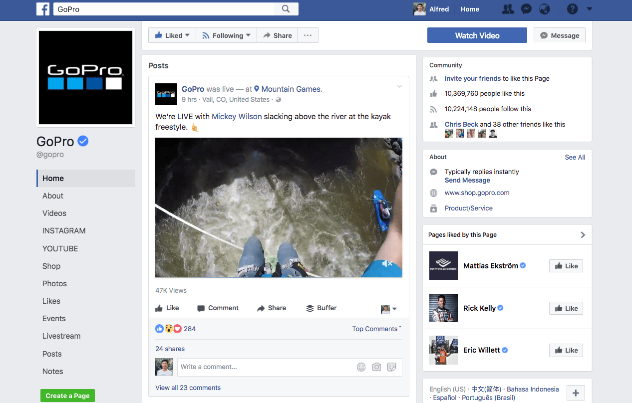GoPro building its brand on Facebook