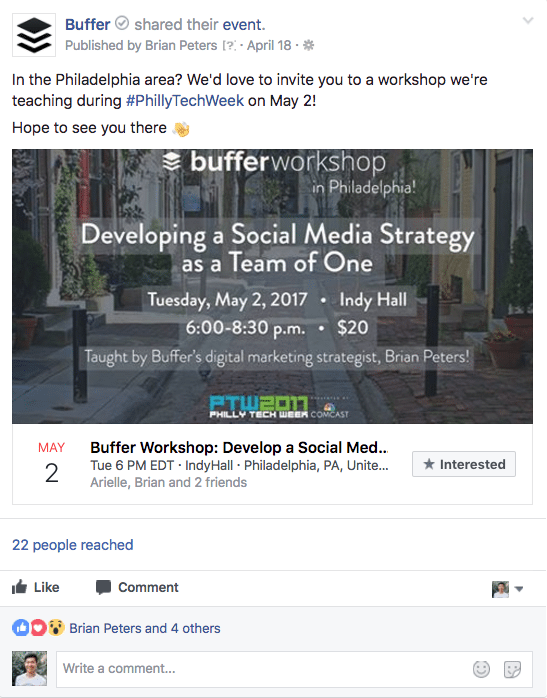 Targeted Facebook event post