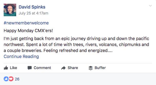 CMX Hub welcome post