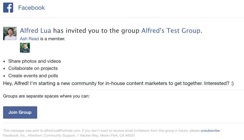 Facebook group invite