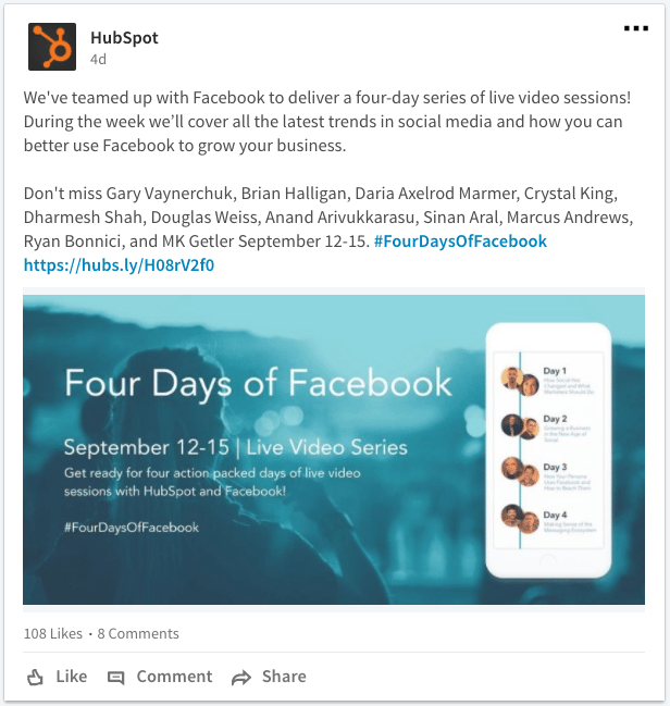 HubSpot webinar post