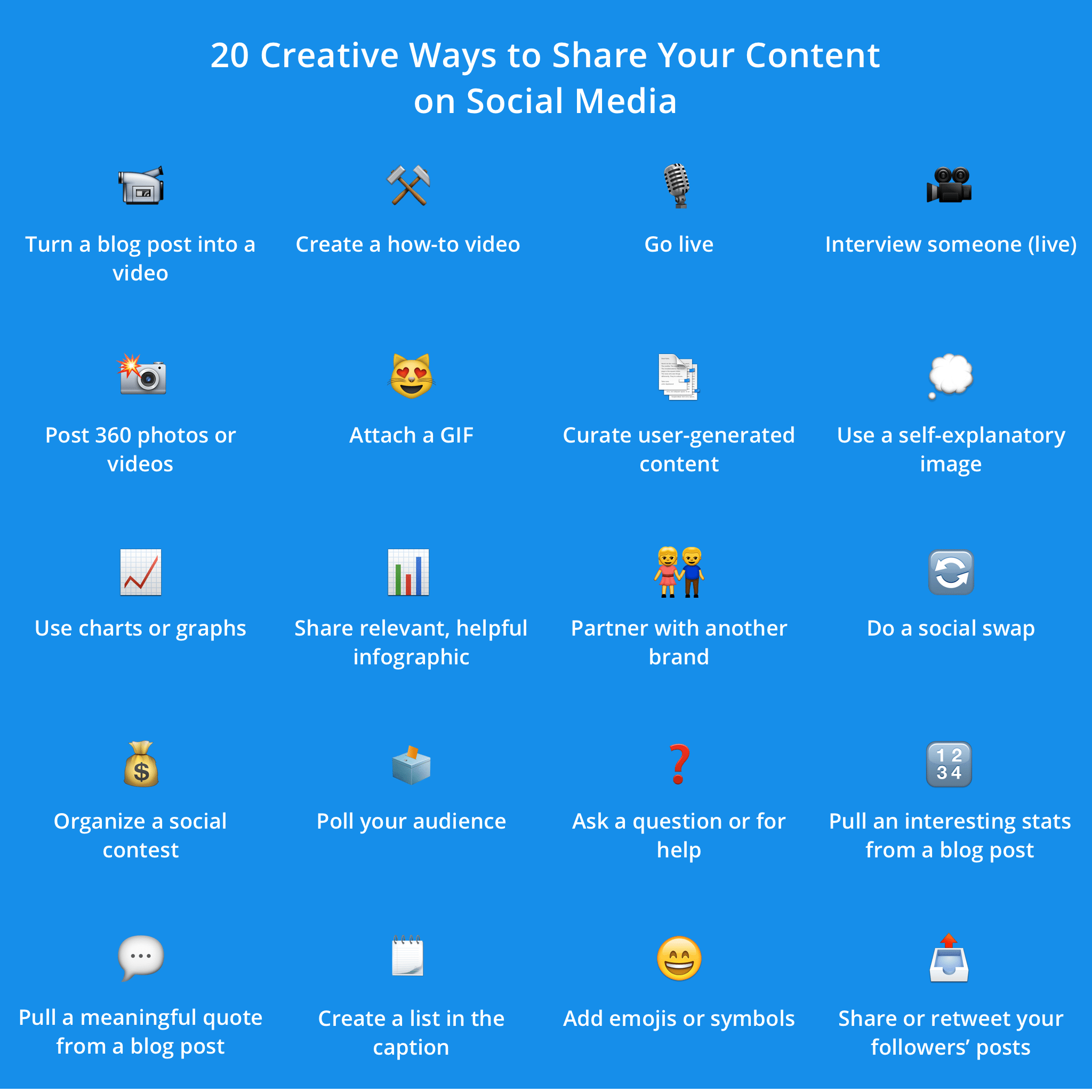 Social media content ideas infographics