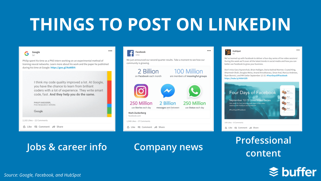 1. Jobs and career information 2. Company news 3. Professional content