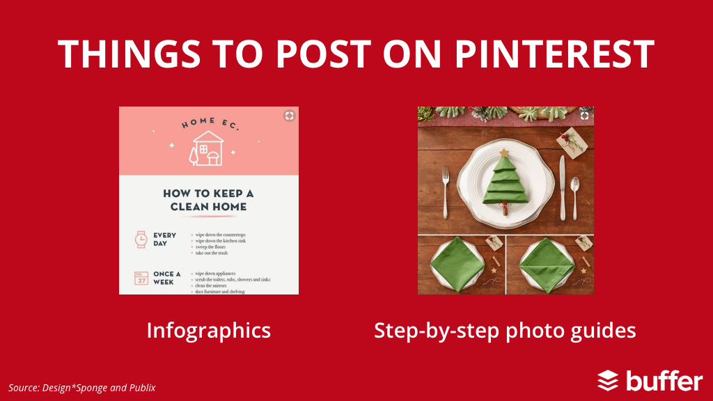 1. Infographics 2. Step-by-step photo guides