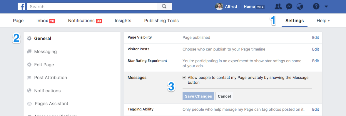 Facebook Page Messenger settings