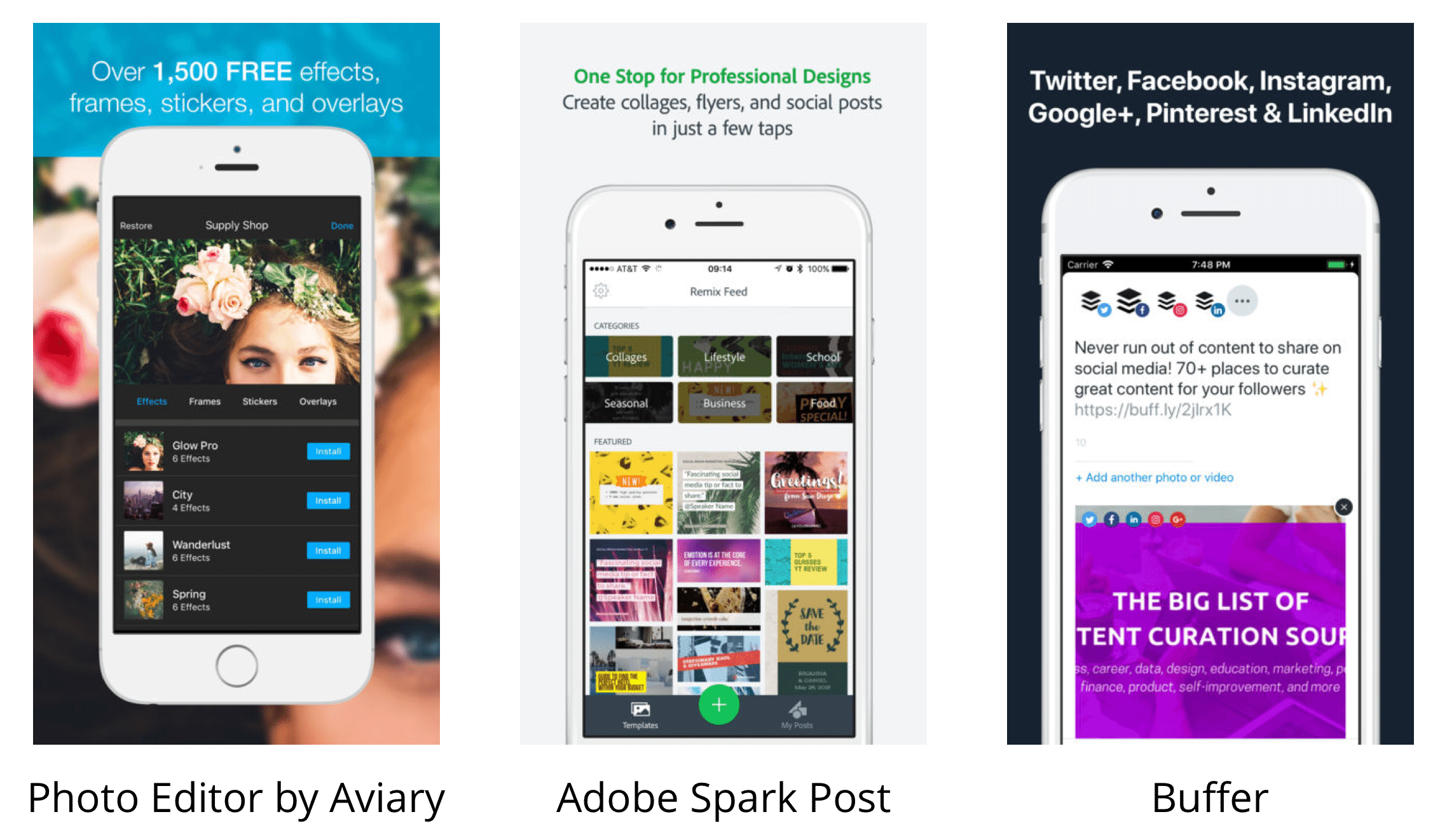 Instagram tools: Photo Editor by Aviary, Adobe Spark Post, and Buffer