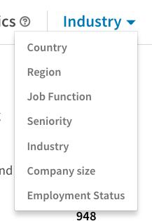 LinkedIn analytics: Follower demographics options